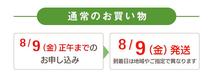 通常のお買い物 8/9(金)正午までのお申し込み→8/9(金)に発送