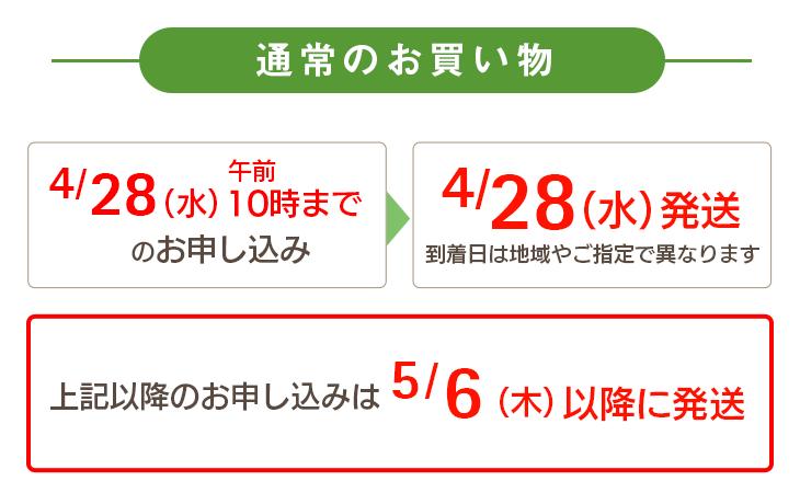 通常のお買い物 4/28(水)午前10時までのお申し込み→4/28(水)に発送 上記以降は5/6(木)以降に発送