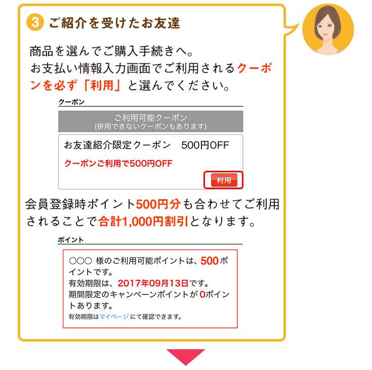 3・ご購入手続き時に「お友達紹介限定クーポン」を必ずご利用の上、会員登録時の付与ポイント500円分を合わせてご利用いただくことで合計1,000円の割引となります。