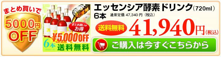 まとめ買いで5000円OFF エッセンシア酵素6本 ご購入はこちらから