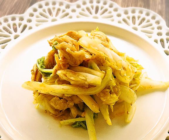 エッセンシア酵素ドリンクレシピ-白菜とささみのカレー胡麻サラダ