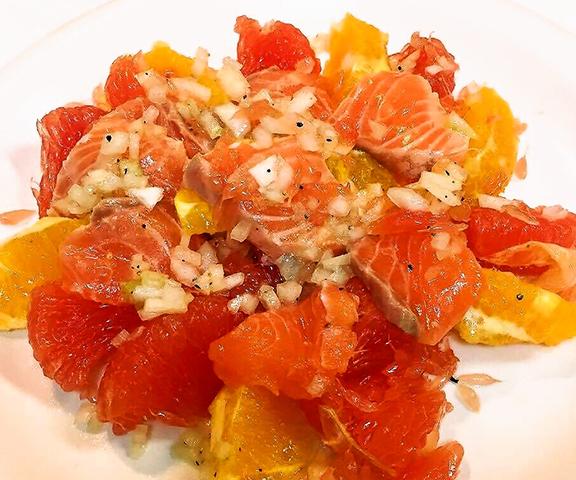 エッセンシア酵素ドリンクレシピ-サーモンと柑橘フルーツマリネ