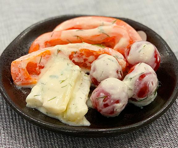 エッセンシア酵素ドリンクレシピ-彩り野菜の酵素ヨーグルトマリネ